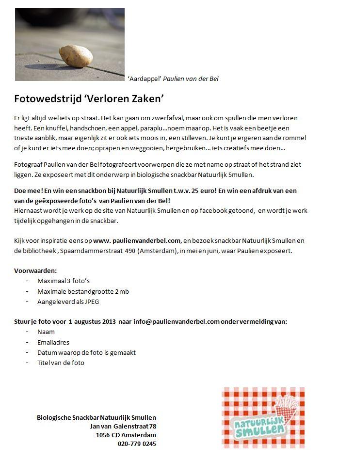 Flyer fotowedstrijd 'Verloren Zaken'